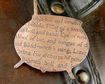 Copper cauldron brooch, halloween brooch, copper brooch, copper jewellery, shakespearean jewellery, shakespeare jewellery, macbeth jewellery
