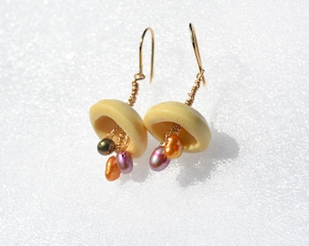 Gold Filled Button Earrings with Colored Pearls Button Jewelry Handmade Jewelry Vintage Recycled Buttons Free Shipping from Israel