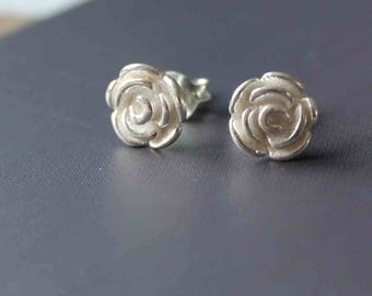 Tiny rose earrings. Rose studs. Dainty silver rose studs. Sterling silver earrings. Tiny Silver stud earrings. Small Silver flower earrings.