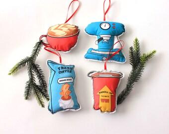 Christmas ornaments: Coffee ornament set- Coffee lover