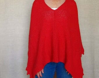 Hand-knit Poncho of Superfine Alpaca in Red Coral