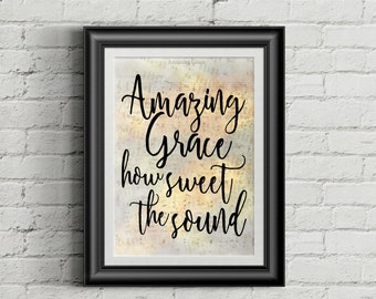 Amazing Grace Hymn Digital Print