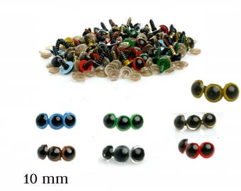10 mm Safety Eyes - Safety Eyes Blue, Brown, Green, Red, Yellow, Gold, Transparent with Round Pupil (2 pairs)