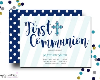 Boys Communion Invitation, 1st Communion Invite, Baptism, Religious, Blue