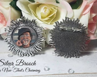 SALE!  Silver Brooch with Photo