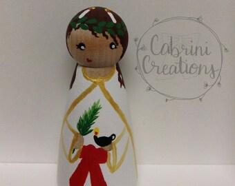Saint Lucy Peg Doll Catholic Toy. Catholic Saints. Saint Doll. Saint Peg Doll Catholic Gift Baptism Gift Confirmation Gift