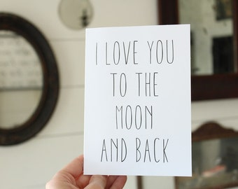 I Love You To The Moon And Back | Love Card | Simple Love Greeting Card | Wedding Card | Greeting Card | Thinking of You Card