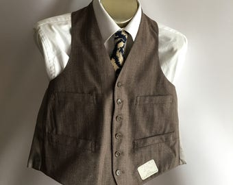 Deadstock Brown Taupe Wool Shirtwaist Vest Wedding Rockabilly Steampunk Small Size 38 50's 60's MadMen Ratpack Suit