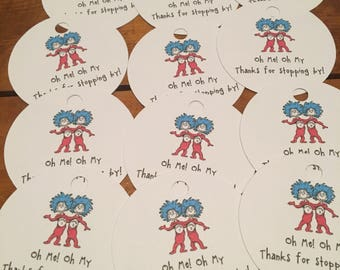 12 Dr Seuss Cat in the Hat Party Thank You Tags (can be personalized)