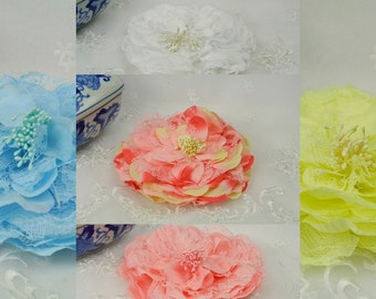 """Set of 5+, Fabric and Lace Mesh Petal Flower for Hairband Headbands Decor 4.5"""" Silk Flower, mixed colors"""