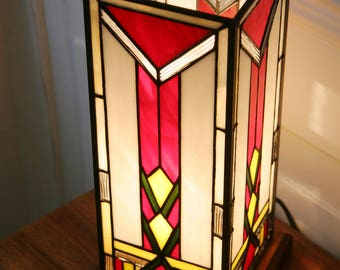 """Tiffany lamp, Art Deco stained glass Tiffany lamp, table """"Column"""" lamp"""