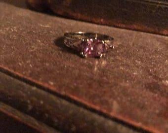 Vintage faux pink gem stone ring