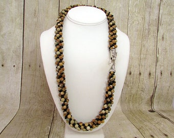 Picture Jasper Kumihimo Beaded Necklace with Cheetah Hook