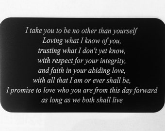 Wedding Vow Custom Wallet Insert Card / Gift for Husband Wife / Anniversary Gift / Valentine's Day Gift / Custom Engraved Wallet Insert Card