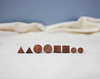 geometric wooden earrings • wooden studs •  macore studs • wooden stud earrings • triangle earrings • minimalistic earrings • wooden jewelry