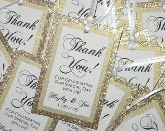 Gold Glitter & Ivory Customized Personalized Tags Favors Weddings Thank You - #023