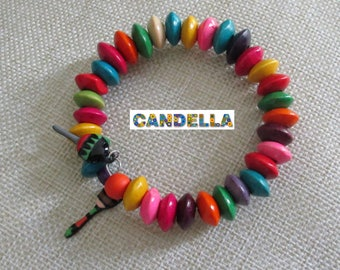 Jewelry memory wire shape memory bracelet multicolored maracas musical wood beads
