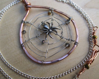 Spider Web Pendant, Spider Web Necklace, Swarovski Spider Web, Halloween Necklace,Halloween Jewelry, gothic jewelry