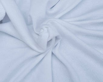 """White Cotton French Terry Knit Fabric by Yard 13oz 64""""W 9/16 Heavy Weight"""