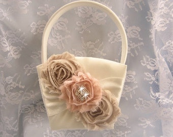 Flower Girl Basket  Vintage Champagne and Blush other colors too