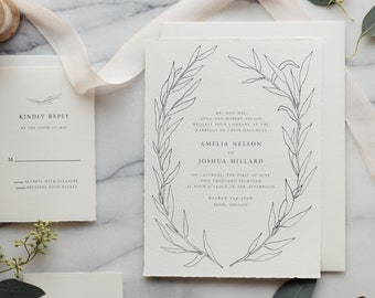 Anise Wreath Wedding Invitation Suite // Custom Wedding Invitation // Printed Wedding Invitation Suite // Greenery Wedding Invitations