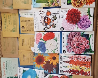 Lot of 21 Vintage 1950s Flower Seed Packets, Burpee, Grossman, Schling's, Garden Plant Collectible