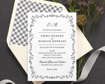 Daisy Chain Wedding Invitation / 'Secret Garden' Modern Floral Wedding Invite / Black White or Custom / Gingham Envelope Liner / ONE SAMPLE