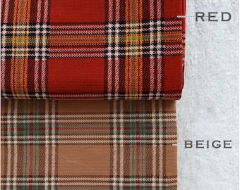 Check, Corduroy Fabric, 2 Colours,  by Yard