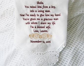Mother of the Groom Gift- Embroidered Handkerchief Choose Your Wording and Design