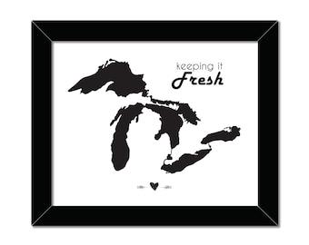 Keeping It Fresh | Great Lakes Print | 8x10 | Lake Superior | Lake Ontario | Lake Michigan | Lake Erie | Lake Huron | Instant Download