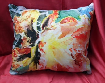 Orange Pansy Pillow 16 inches x 18 inches