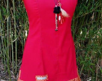 Red dress original woman ruffle dress sleeveless dress