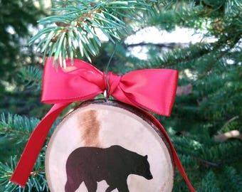 Country rustic bear ornament personalized keepsake