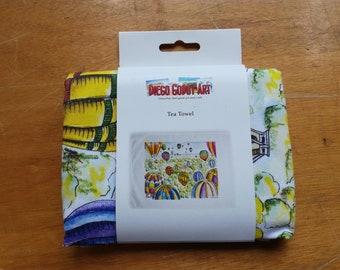 Original Bristol Themed Tea Towel with Bristol Balloon Festival and Clifton Suspension Bridge
