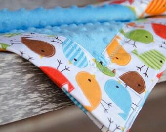 Minky Blanket Birdies Urban Zoologie Robert Kaufman Boy Blue Green Orange Bermuda - Name Included - Bermuda Birdies