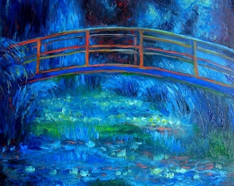 oil painting // landscape art monet bridge at night // artistic work of art // hand-painted impressionism contemporary art