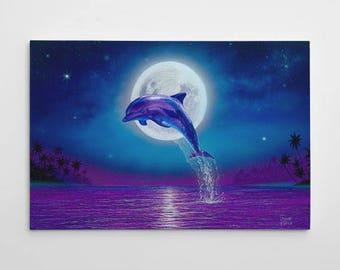 Dolphin Wall Decor, Dolphin Canvas Art, Large Beach Painting, Dolphin Canvas Wall Art, Dolphin Painting