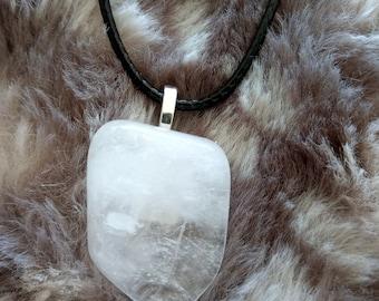 clear quartz pendant -Yoga jewellery women - gemstone necklace -  healing crystals - raw quartz - 7 chakra necklace - clear quartz - reiki