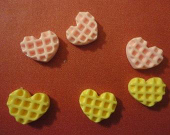 Kawaii mini mini heart waffle cabochons decoden phone deco diy 6 pcs---USA seller