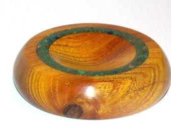 Spindle Support Bowl with Malachite Stone Inlay (468)