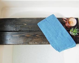 Ebony Double Plank Bath Tray, Black, Bath Shelf, Bath Tray, Heavy Duty, Handmade, Bathtub Caddy, Shelf, Bath Tub, Bubble Bath