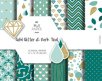 """Gold glitter dark teal digital paper: """"GOLD & DARK TALE"""" green and glitter pack of backgrounds with chevron, polka dots, stripes, hearts"""
