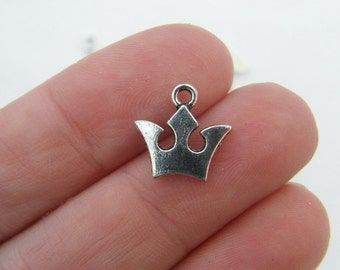 16 Crown charms antique silver tone CA40