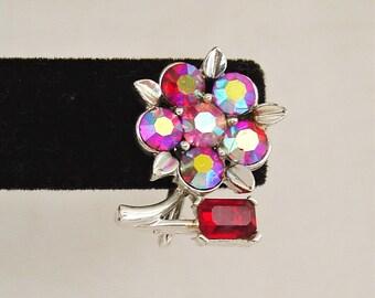 Vintage Lisner Red Aurora Borealis Flower Screw Back Earrings