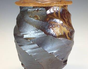 MTO Covered Jar cone 10 - Aztec Gold/Black Silver Glaze Wood Ash Glazes