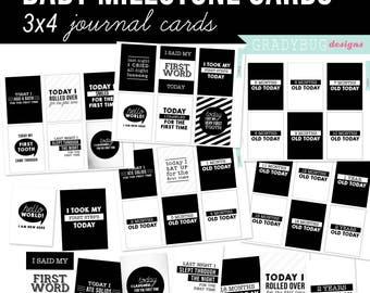 Baby mijlpaal Journal kaarten, digitale 3 x 4 kaarten, digitale Journal Cards, Baby Journal Cards, zwart en wit, Baby Gift, Retro Baby mijlpaal