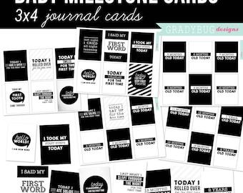 Baby Milestone Journal Cards, Digital 3x4 Cards, Digital Journal Cards, Baby Journal Cards, Black and White, Baby Gift, Retro Baby Milestone