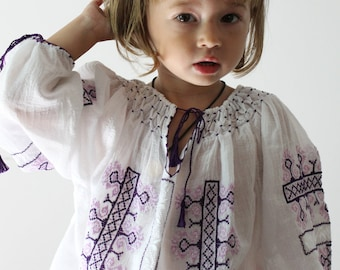 Romanian Handmade Cotton Girl's Blouse