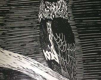 Eagle owl linocut print