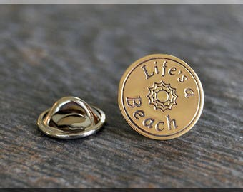 Brass Lifes a Beach Tie Tac, Lapel Pin, Brooch, Gift for Him, Gift Under 10 Dollars, Vacation Tie Tack, Leisure Unisex Pin